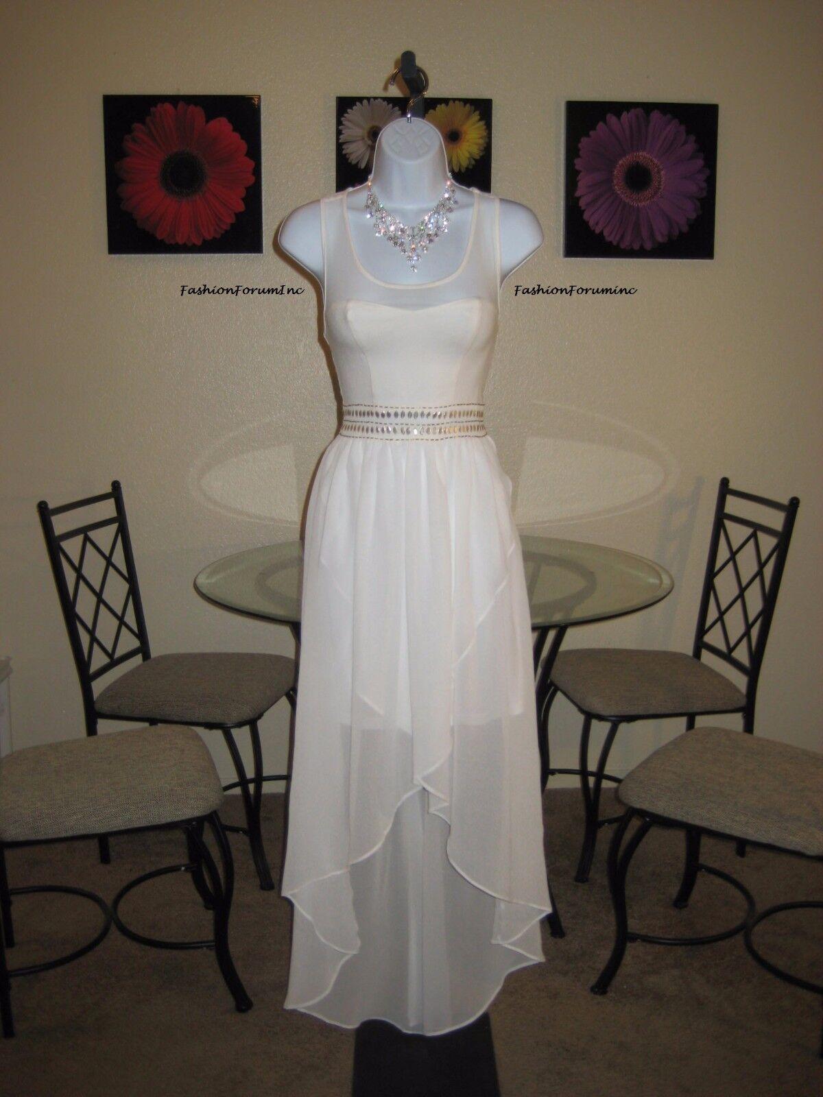 NWT  Arden B. gold Trim Hi-Lo Off-White Off-White Off-White Maxi Dress Size XS e8ebf5