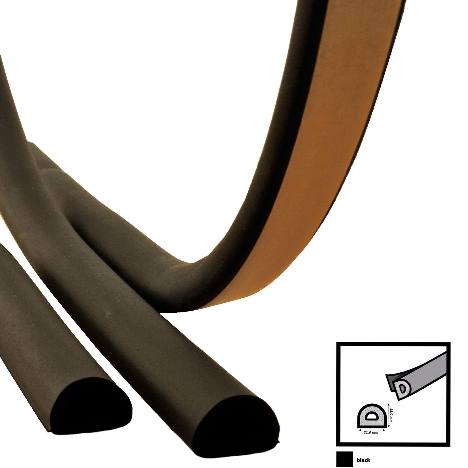 D D D 21mm x 15mm Fensterdichtung Türdichtung SELBSTKLEBEND EPDM schwarz | Geeignet für Farbe  e42577