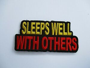 Sleeps-Well-with-Others-Embroidered-Patch-Sew-Iron-Rider-biker-Motorcycle-vest