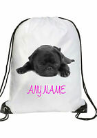 GIRLS Personalised black PUG puppy Gym BAG for Swim PE Dance School Great