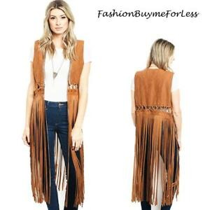70'S BOHO Hippy TX Western Cowgirl Camel Faux Suede Fringed Rodeo Cardigan Vest