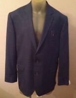 $210 Stafford Travel Classic Fit Blue Windowpane Suit Jacket Mens 48 R 48r