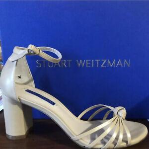 Stuart-Weitzman-Sutton-Sandal-Pump-Ankle-Strap-Adobe-Tan-Nude-Leather-Sz-8-5