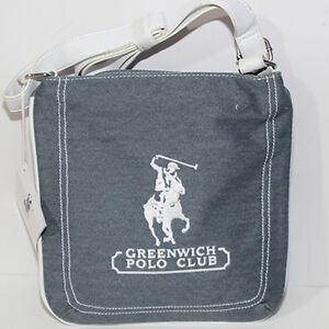 huge discount 69d5e 1a69a Dettagli su Borsa Tracolla Greenwich Polo Club Blu Jeans bianco uomo Polo  Ralph Lauren donna