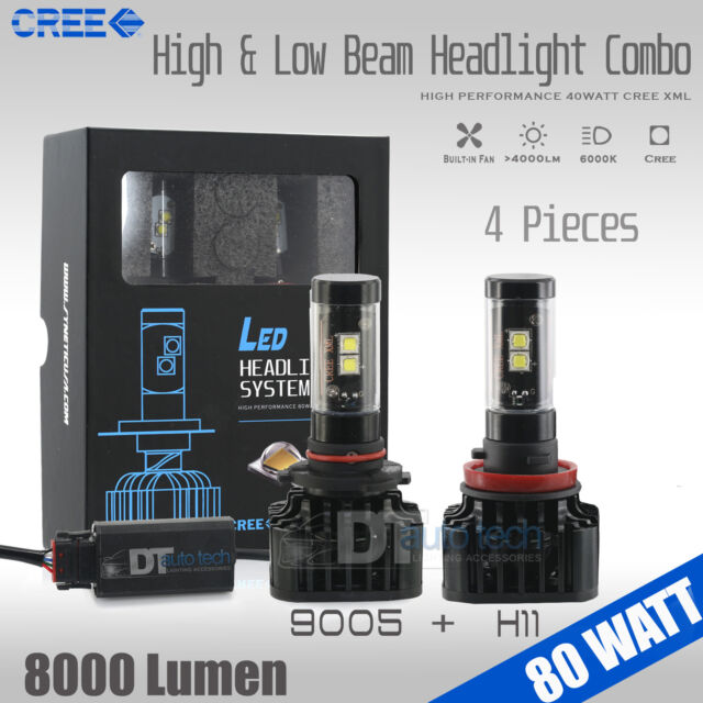 9005+H11 Combo 160W 16000LM CREE LED Headlight Kit High & Low Beam Light Bulbs