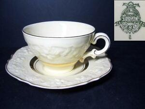 BEAUTIFUL-CROWN-DUCAL-CRD143-CUP-amp-SAUCER-3-EMBOSSED-EDGE