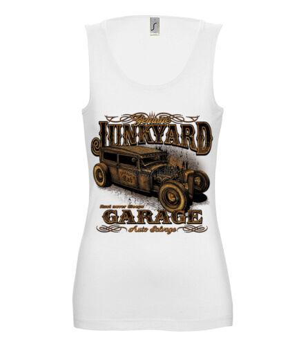 Damen TANK TOP Hot Rod JUNK YARD GARAGE Rockabilly Kustom USA US Vintage 15747