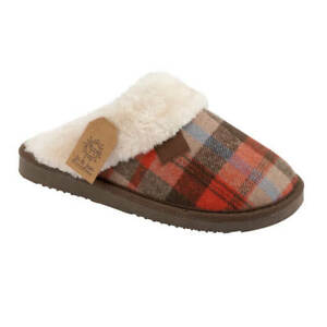 Ladies Womens Warm Fur Lined Winter Mule Slipper With Faux  Collar UK Sizes 3-8