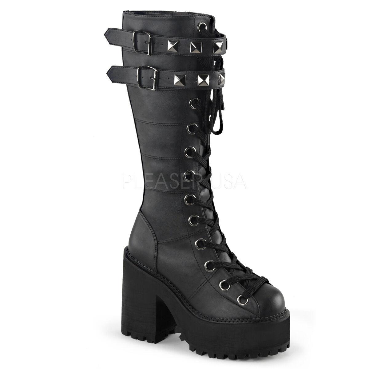 Demonia grip-31 Negro tachonado zapatos de plataforma plataforma plataforma - Gothic, Goth, punk, negro, hebilla 1c57e4