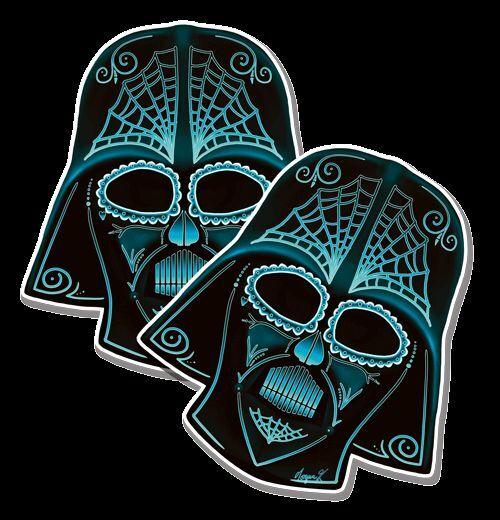 SUGAR SKULL DARTH VADER BLUE Star Wars Day of Dead Dia de los Muertos 2 pack