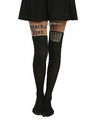 NEW Attack on Titan LOGO Shield Silhouette Part Sheer Tights Pantyhose Nylons