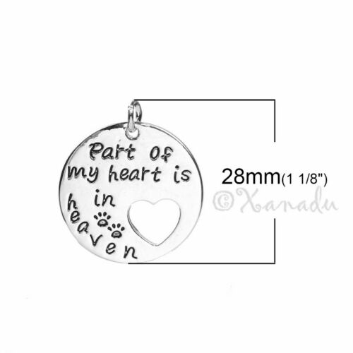 5 Or 10PCs Part Of My Heart Lives In Heaven 28mm Pet Memorial Charms C8916-2