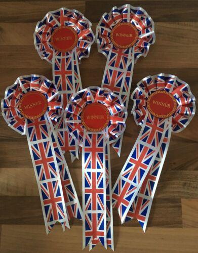 large ruban Gratuit 1st Classe Envoi 5 x 1 Niveaux Union Jack winner rosettes