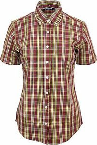 0c90cf1b6 Image is loading Relco-Womens-Burgundy-Yellow-Tartan-Check-Short-Sleeve-