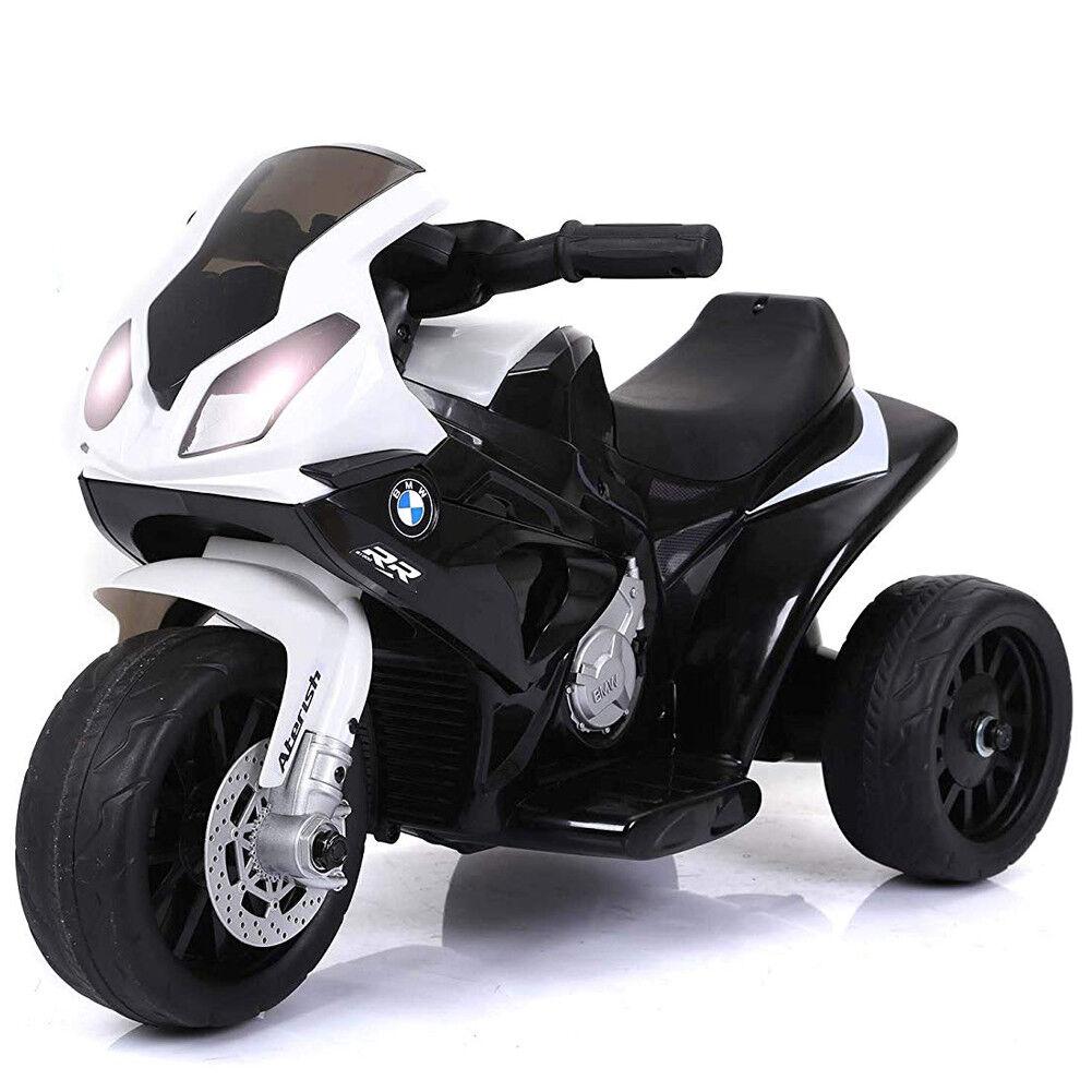 Moto Motocicletta Elettrica Bambini BMW 1000 6V Triciclo 3 Ruote Luci Suoni noir