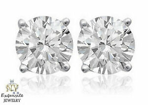 .40ct 2/5ct F/I1 ROUND-CUT GENUINE DIAMONDS SET IN 14K GOLD STUDS EARRINGS
