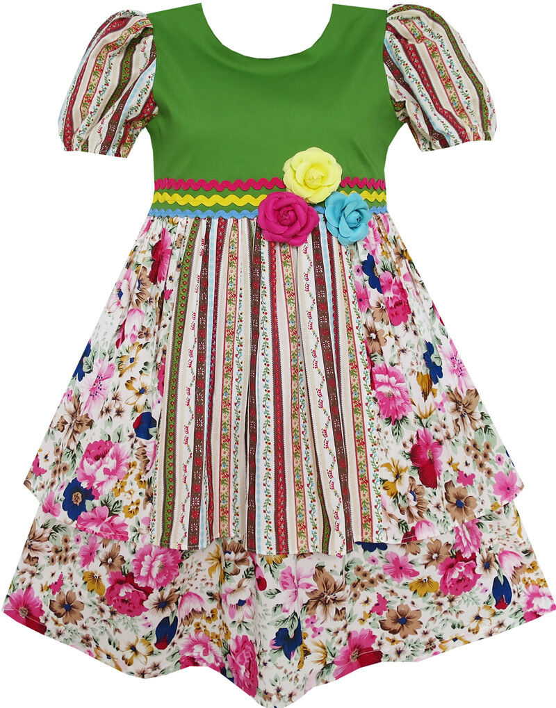 Sunny Fashion Girls Dress Pink Flower Short Sleeve Party Birthday Kids Size 2-10