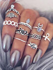 Women Punk Vintage Knuckle Rings 10pcs Tribal Ethnic Hippie Stone Joint Ring Set