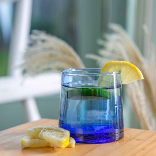 6 Piece Merzouga Recycled Tumbler Glasses Set Drinking Glass 200ml Blue