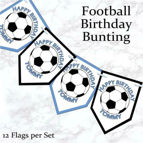 Personalised Football Birthday  Bunting Banner Party Boy Decoration Any Age