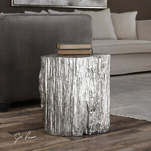 Outstanding Details About Metallic Silver Tree Log Stump Stool Accent Side End Table Rustic Elegance Camellatalisay Diy Chair Ideas Camellatalisaycom