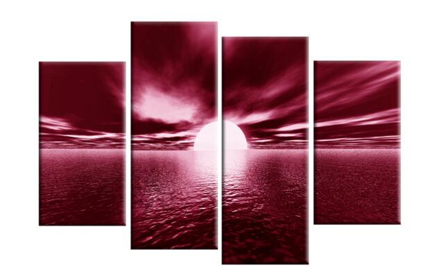 "DARK RED CANVAS WALL PICTURE SEA SUNSET SUNRISE BEACH ARTWORK 40"" 4 PANEL"