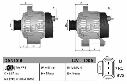 1x Denso Alternators DAN1016 DAN1016 104210-5790 1042105790