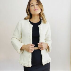 Tory Burch Ivory Crochet Knit Sweater Women's Size Medium