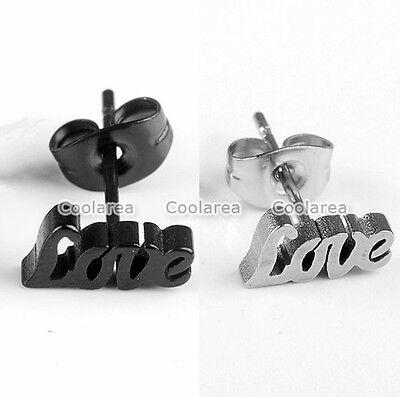 2x Punk Stainless Steel LOVE Lover Couple Ear Studs Womens Mens Fashion Earrings