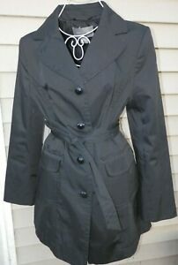 New Women S Ann Taylor Long Trench Fitted Black Jacket