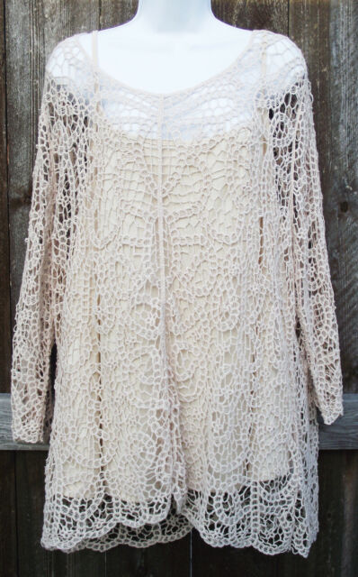 ADIVA 2pc BEIGE CROCHET COTTON LACE ¾ SLEEVE EVENING TOP BLOUSE POLY CAMI 3X NEW
