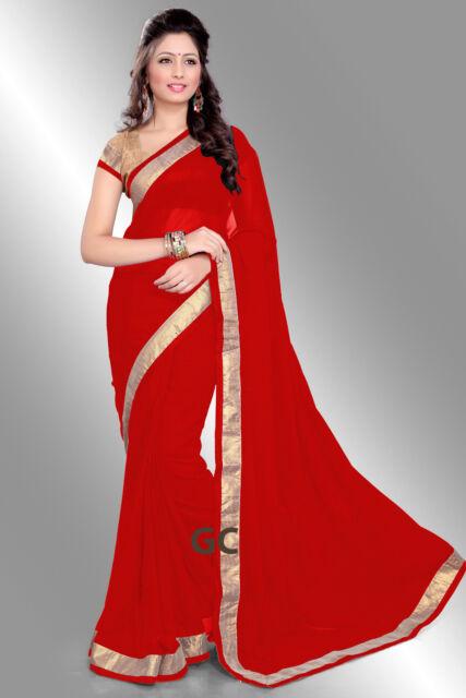 88e238a0594 Red Bollywood Chiffon Plain Golden Border Party Wear Saree Sari BellyDance  TOP