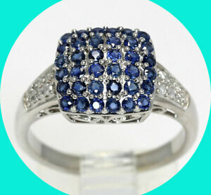 .50CT diamond sapphire geometric ring 14K WG birthstone sz 7 filigree