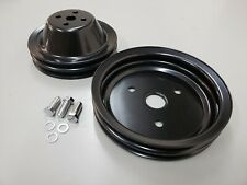 Sbc Small Block Chevy 2 Groove Black Steel Short Water Pump Pulley Kit 327 350