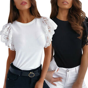 Womens-Lace-Short-Sleeve-Tops-Blouse-Ladies-Summer-Casual-Crew-Neck-T-Shirt-Tee