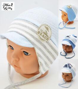 a9bda65dc43 Baby Boys Tie Up Hat Infant Spring Summer Cotton Cap Newborn