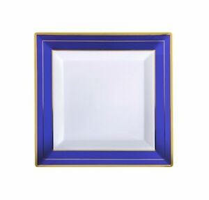 "120 ct 4.5"" Square Cocktail Plates COBALT BLUE White-Gold Rim H-Duty Disposable"