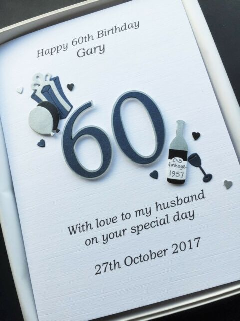 60th BIRTHDAY CARD FOR MEN DAD HUSBAND SON Personalised Handmade Gift Boxed
