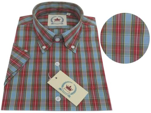Relco Men/'s Pale Blue /& Orange Tartan Checked Short Sleeve Button Down Shirt