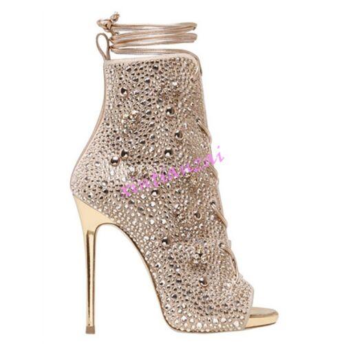 mujer Toe Para Rhinestones Nuevo Bling Stilettos cordones alto con de Zapatos Clubwear tacón Peep fpwdpa4q