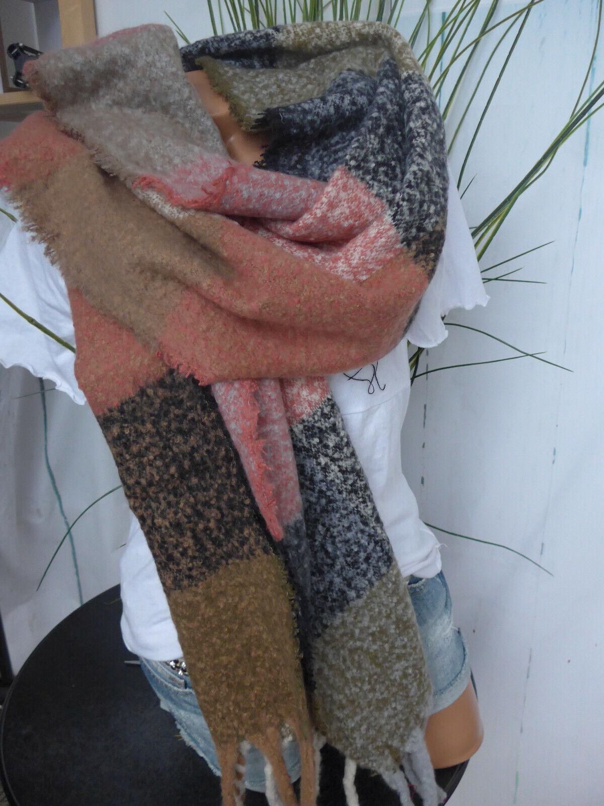 XXL Scarf Shoulder Cloth Soft Falling (9 170) 03 Block Stripes Patterned New