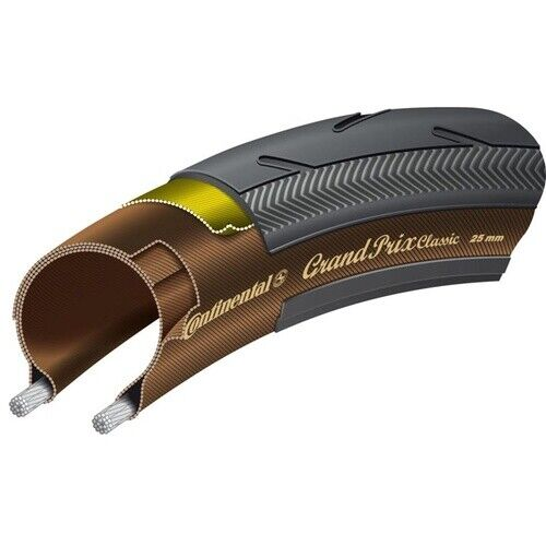 Continental Grand Prix Classic Folding Clincher Tyre Black//Brown 700 x 25