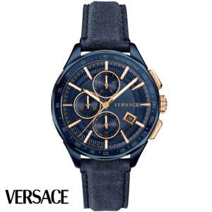 Versace-VEBJ003-18-Glaze-Chronograph-blau-gold-Leder-blau-Armband-Uhr-Herren-NEU