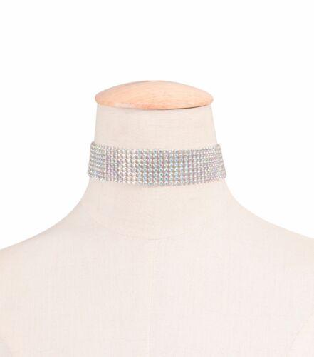 Women Lady Crystal Bling Rhinestone Neck Choker Party Short Necklace band wrap