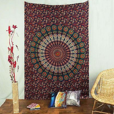 Mandala Indian Wall Hanging Cotton Tapestry Twin Size Blue Beach Throw Decor