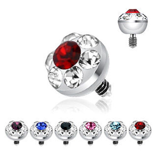 Surgical Steel Internally Threaded 4mm Multi Gem Ferido Dermal Anchor Top