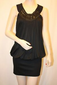 NEW-BCBG-MAX-AZRIA-Black-Jersey-Pleat-Beaded-Mini-Sleeveless-DRESS-YWE1G071-SZ-S