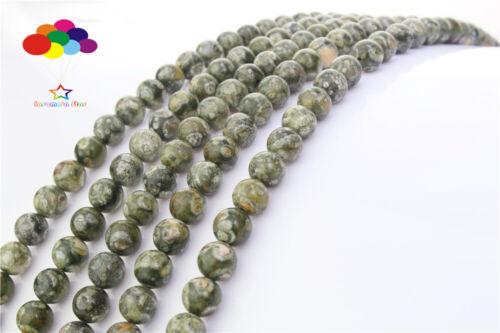 Diy 4//6//8//10//12mm Natural Stone Rhyolite Jasper Round Beads fit Yoga bracelet