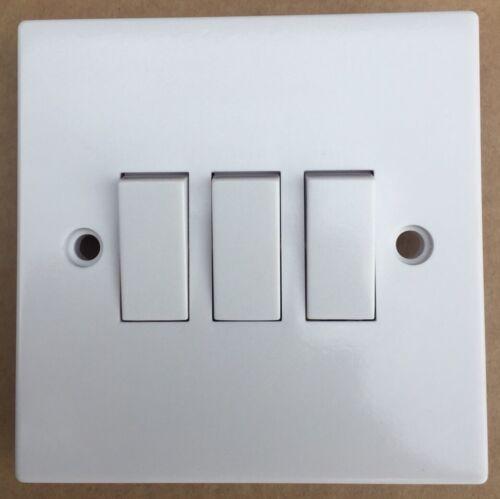 1 x MARBO 10ax 3 Gang 2 Interrupteur Plaque En Plastique Blanc US20