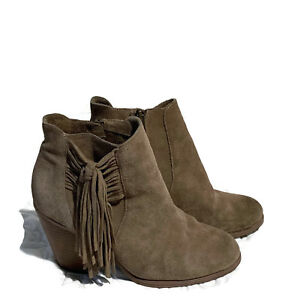 Vince-Camuto-Womens-Size-8-5-Side-Zip-Grey-Suede-Fringe-Ankle-Boots